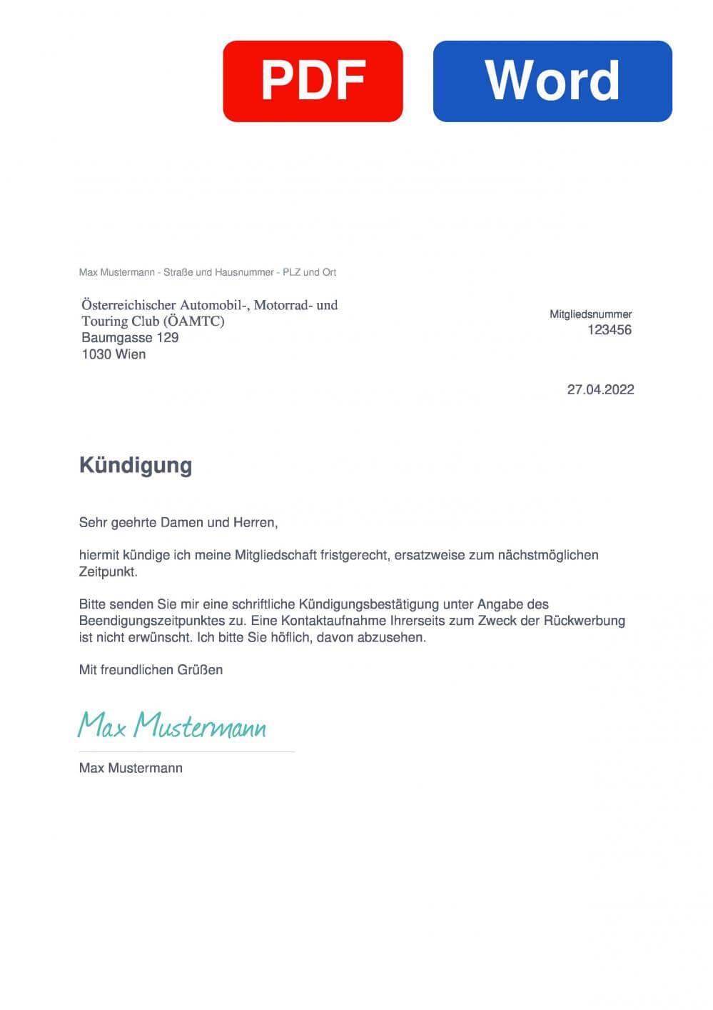 ÖAMTC Muster Vorlage für Kündigungsschreiben