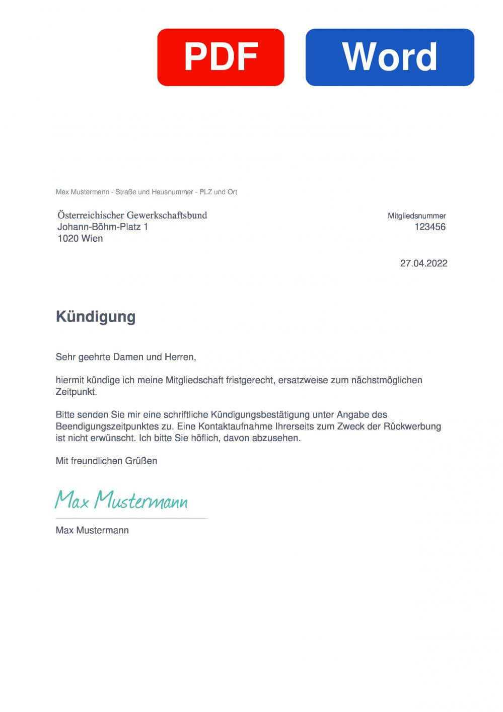 ÖGB Muster Vorlage für Kündigungsschreiben