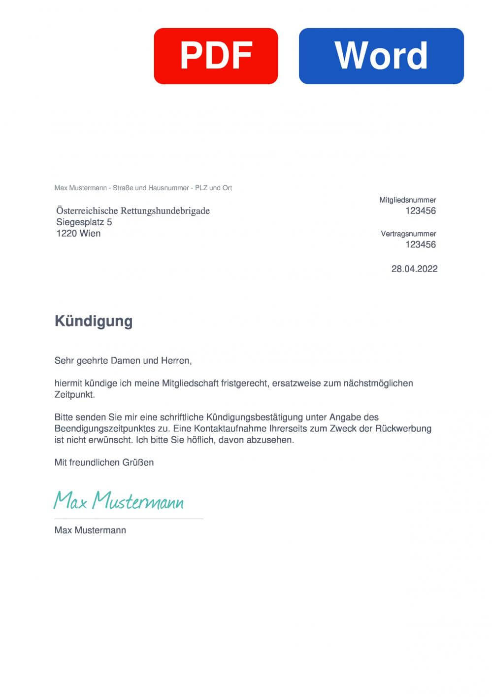 ÖRHB Muster Vorlage für Kündigungsschreiben