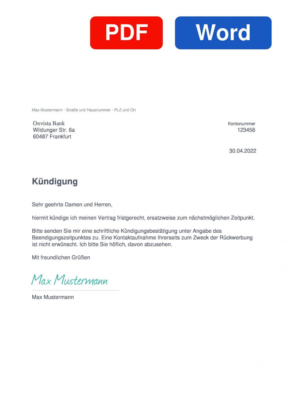 Onvista bank Muster Vorlage für Kündigungsschreiben