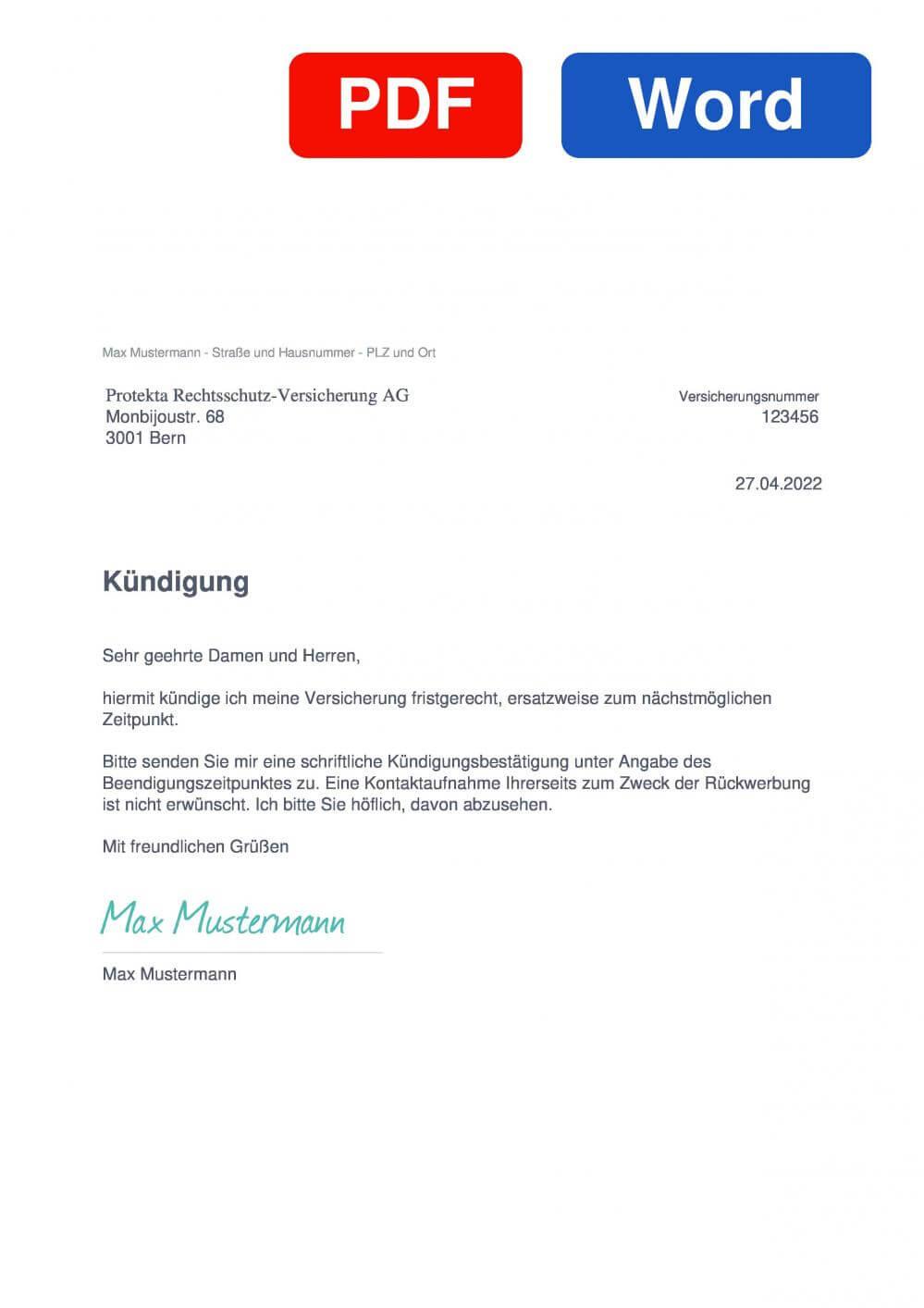Protekta Muster Vorlage für Kündigungsschreiben