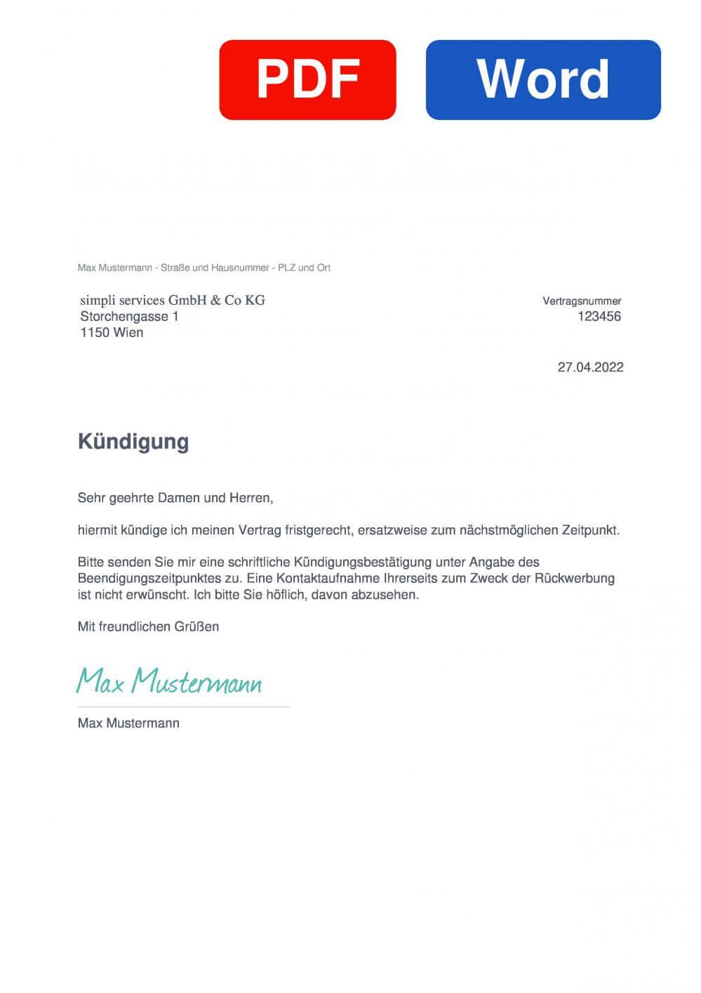 simpliTV Muster Vorlage für Kündigungsschreiben