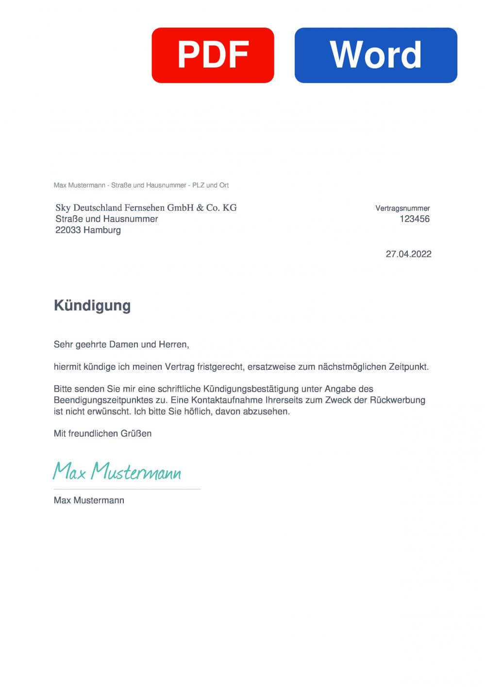 Sky Q Muster Vorlage für Kündigungsschreiben