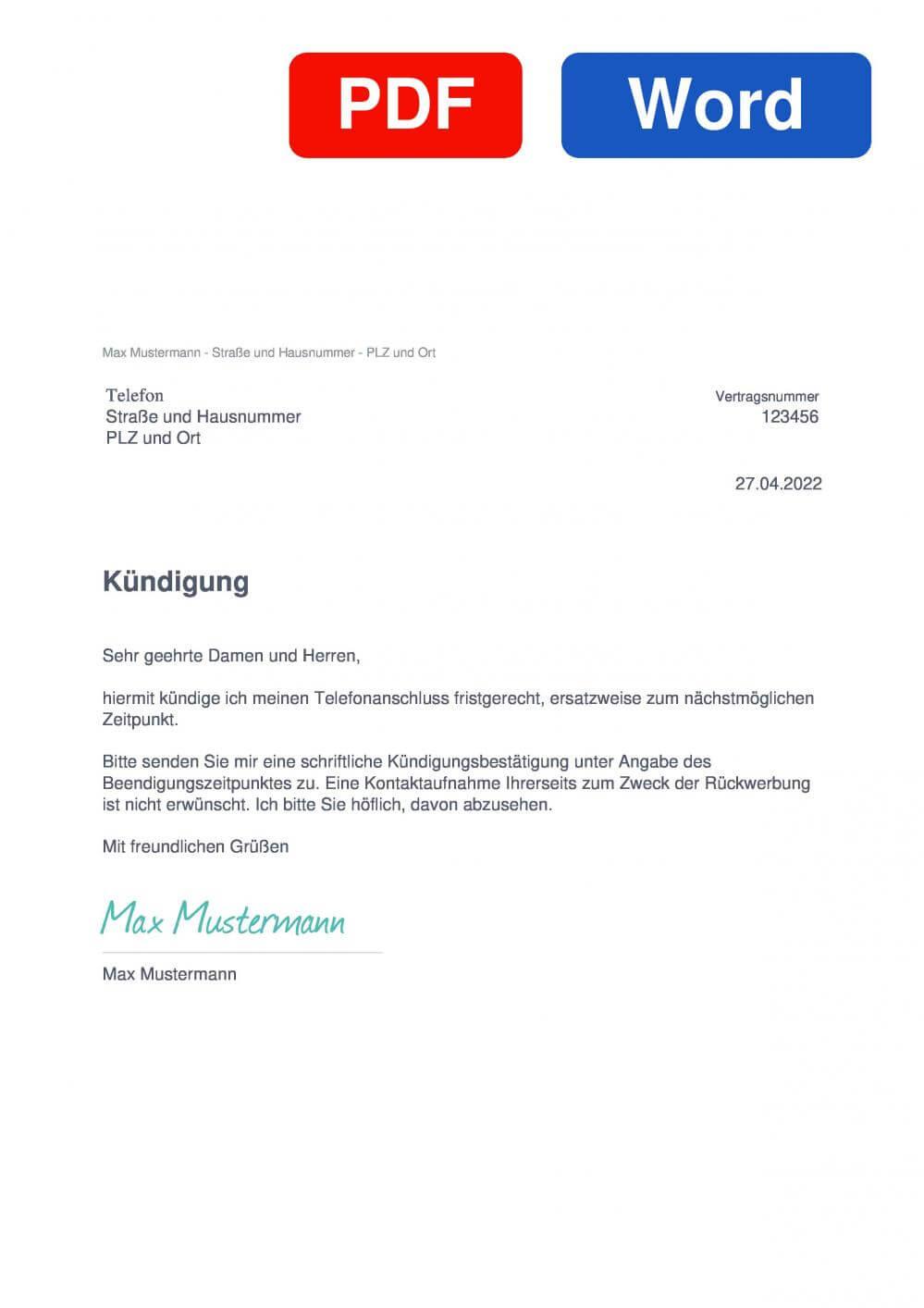 Telefon Muster Vorlage für Kündigungsschreiben