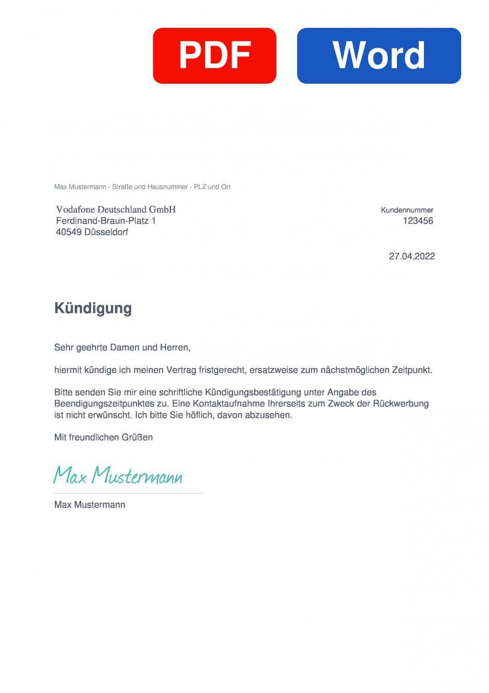 Unitymedia Muster Vorlage für Kündigungsschreiben