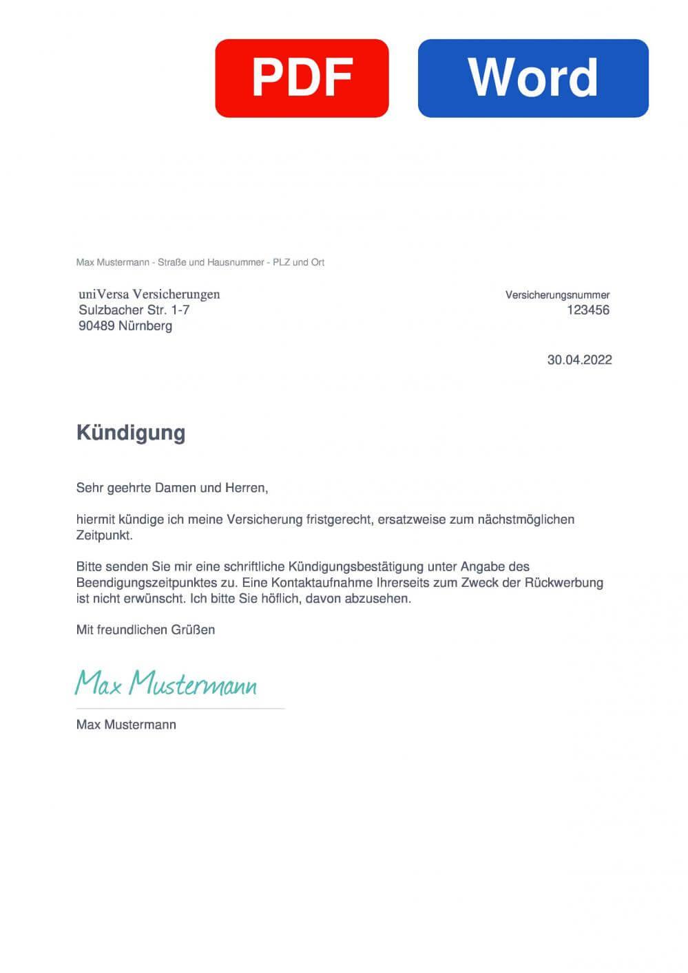 uniVersa Lebensversicherung Muster Vorlage für Kündigungsschreiben
