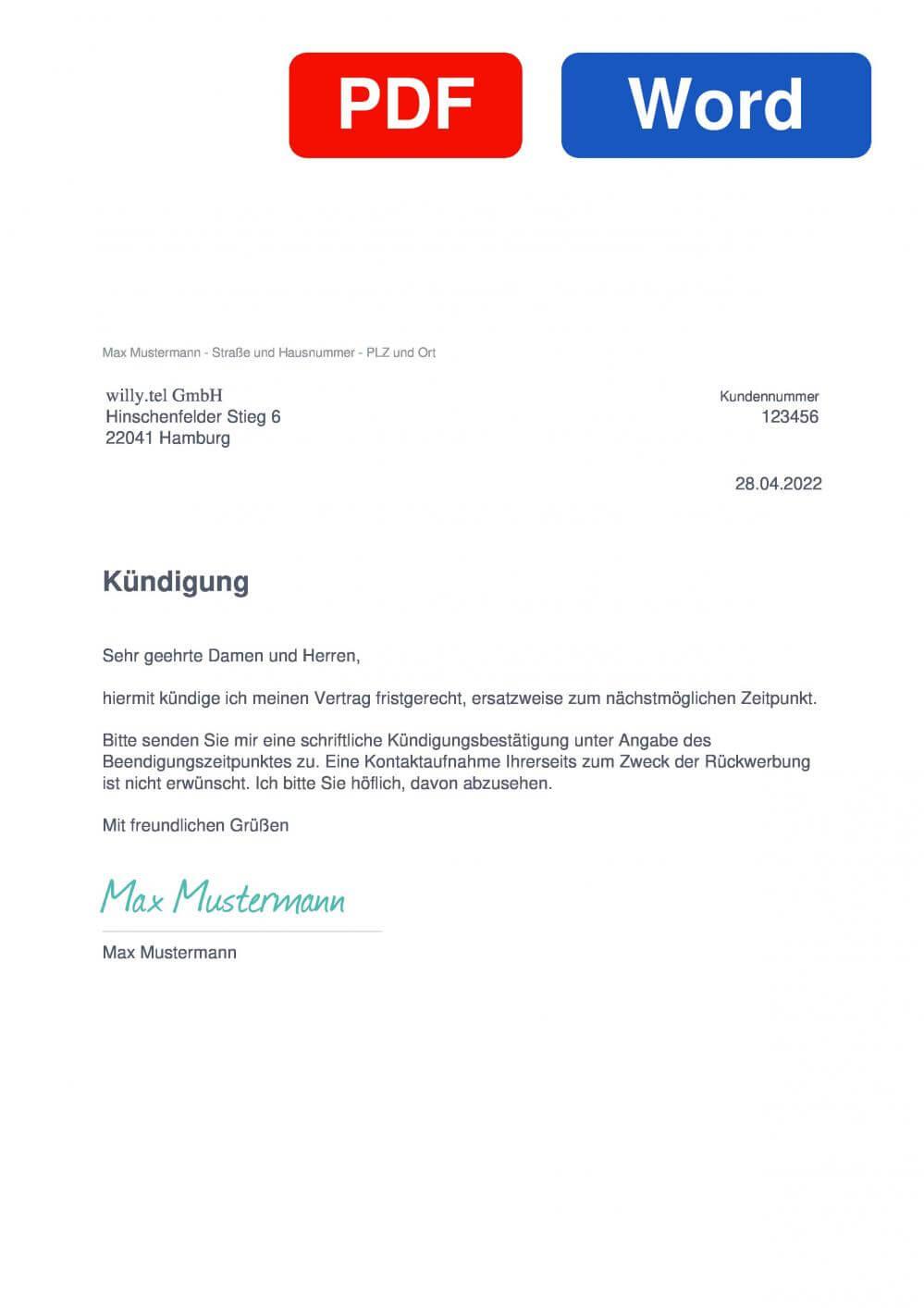 willy.tel Muster Vorlage für Kündigungsschreiben