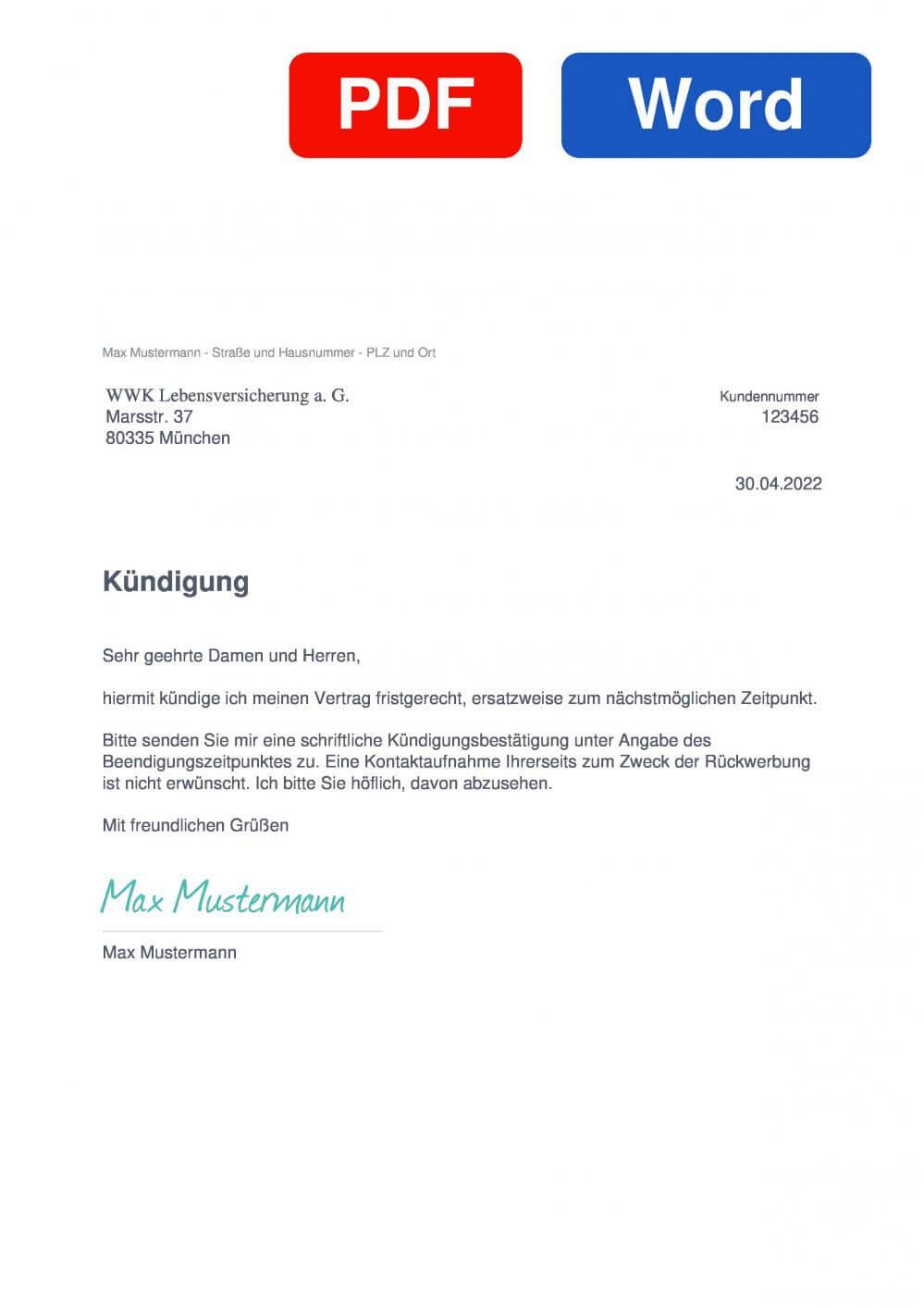WWK Berufsunfähigkeitsversicherung Muster Vorlage für Kündigungsschreiben
