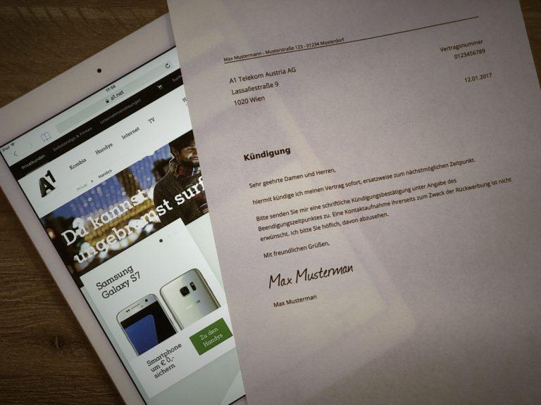 A1 Online Kündigen Kostenlose Vorlage Zum Herunterladen