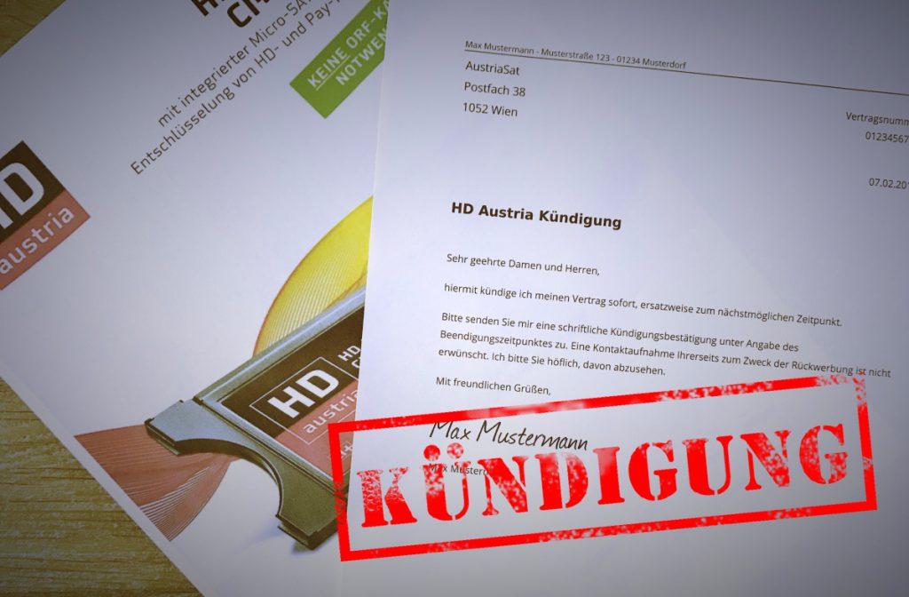 Vorlage zum HD Austria Kündigen